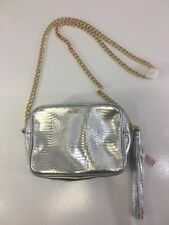 VICTORIA'S SECRET WOMEN'S FAUX LEATHER REPTILE EMBOSSED CROSSBODY BAG SILVER NWT