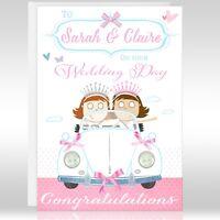 WEDDING DAY CARD - *BRIDE & BRIDE* Personalised, Mrs & Mrs, Cute, Gay, Lesbian