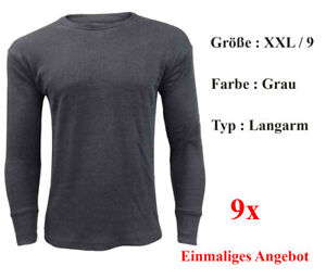 9x Herren Thermohemd langarmig Größe 9/XL Farbe - Grau - Marke Sprint Sports