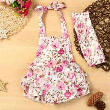 2PCS Newborn Baby Girls Sunsuit Swimwear Floral Romper Jumpsuit+Headband Outfits