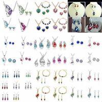 Schmuckset Halskette Ohrringe Silber Kristalle Zirkonia Herz Damen Hochzeit