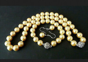 10mm South Sea Gold Shell Pearl Round Beads Necklace Bracelet Earrings Set AAA
