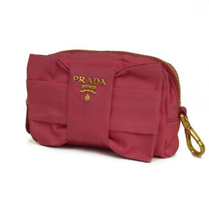 Auth PRADA Logos Ribbon Bow Tessuto Nylon Cosmetic Pouch Mini Bag 19009bkac
