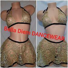 EXOTIC DANCEWEAR THONG COSTUME size LARGE READ DESCRIPTION   Gold SKIRT