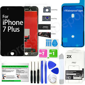 LCD Display Touch Screen Replacement Kit for Black iPhone 7 Plus + 2 protectors