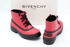 NIB Givenchy Paris Glaston Laced Red Black Ankle Rain Boots New 7 37