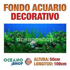 FONDO 100x50cm ACUARIO DECORATIVO VINILO PLANTAS CALIDAD D422 PECERA