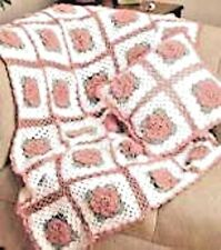 "CROCHET PATTERN - VINTAGE ROSE FLOWER GRANNY SQUARE ARAN BLANKET/THROW 45"" x 54"""