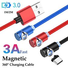 90° L-Shape 3A Magnetic Fast Charging Cable Micro USB Type C Quick Charger Cable