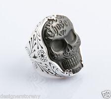 King Baby Studio Large Carved Jet Chosen Skull Ring Size 12