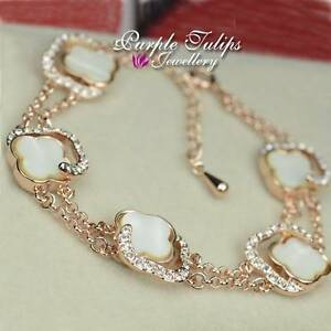 18CT Rose Gold Plated Fashion Four Clover Bracelet Made With SWAROVSKI CRYSTALS