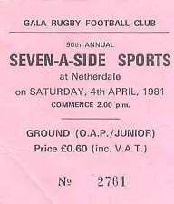 GALA SEVENS 4 Apr 1981 RUGBY TICKET WINNERS KELSO