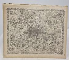 Antique Colton's Map Atlas Environs of London 1855 United Kingdom England
