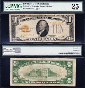 RARE *STAR NOTE* Bold VF 1928 $10 GOLD CERTIFICATE! PMG 25! FREE SHIP! *00954783