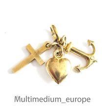 8ct Gold remolque creo amor esperanza charm oro pendant elevaba, Love, Hope