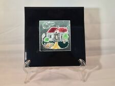 Vintage Hand Painted Ceramic Cottage Tile: 6 X 6� Wall Art,