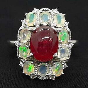 World Class 5.65ctw Ruby, Opal & Diamond Cut White Sapphire 925 Silver Ring 6.2g