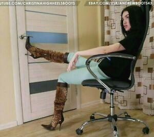 GIANMARCO LORENZI Size 38 US 7,5 pointed toe stilettos heels leopard fur boots