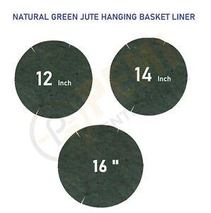 "12"" 14"" 16"" NATURAL GREEN JUTE HANGING GARDEN BASKET LINER ROUND SHAPED"
