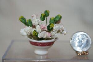 Miniature Dollhouse Pink White Yellow Flower Arrangement in Porcelain Bowl 1:12