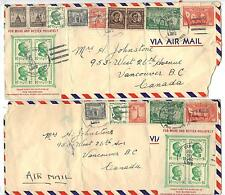 PHILIPPINES 1940-50s COLLECTION OF 15 COMMERCIAL COVERS TO US & CANADA