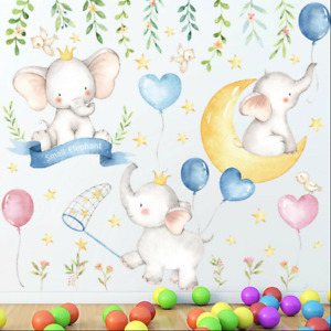 Nursery Cute Baby Elephants Beautiful Flowers Foliage Stars Moon Removable Decal