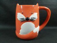 "TAG Orange Fox 3D Ceramic Coffee Cup Mug 4.25"" Tall Foxy Lady Tea Cup Super Cute"