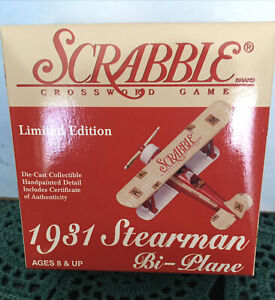 Scrabble 1931 Stearman Bi-Plane Die Cast  1:54 New In Box Gearbox Hasbro