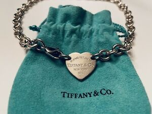 Tiffany & Co. Please Return To Tiffany Sterling Silver Heart Charm Necklace
