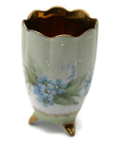 Antique Toothpick Holder Gold Hand Painted Signed Green Blue Flowers Victorian