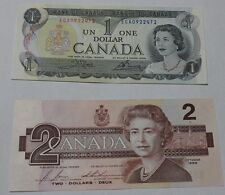 1986 CANADIAN 2 DOLLAR BILL  AND 1973 1 DOLLAR BILL