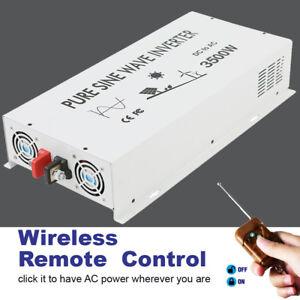 3500 Watt Inverter Power Pure Sine Wave 12V 24Volt to 120V 220VAC Remote Control