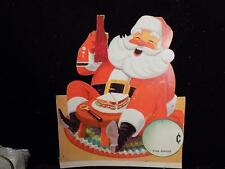 A8497 Christmas 7-UP Soda Santa Claus When Guests Drop In diecut sign 1964