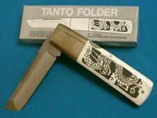 VINTAGE GUTMANN EXPLORER11-348 BONE JAPANESE DRAGON SCRIMSHAW TANTO KNIFE KNIVES
