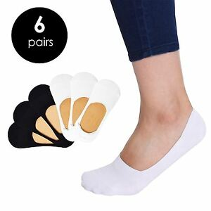 VIV Collection Women's 6 Pack Casual Invisible No Show Socks Non Slip Sport Cut