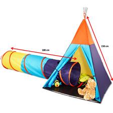 Kinder INDIANERZELT + TUNNEL Spielzelt 150 cm Tipi Wigwam Stoff Zelt ~yx- 3I1l