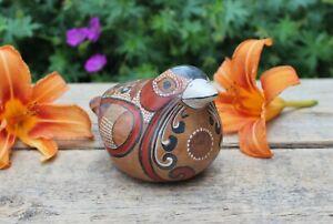 Sm Bird Sparrow Hand Painted Handmade & Burnished Pottery Tonalá Mexico Folk Art