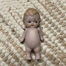 Vintage German All Bisque Porcelain Miniature Doll Baby Boy Kewpie Style Face