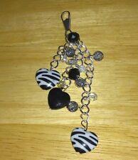 hand-made handbag charm/keyring- zebra -girls/ladies