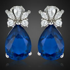 Xmas Gifts Fashion Lady Blue Sapphire Pear 18K White Gold Plated Gp Stud Earring