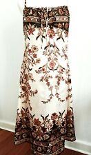 Silk Satin Black Brown Floral A-Line Midi Dress Size 8 New! ~EugeniaM Designs~