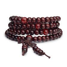 Mala bracelet bois de santal bouddha 108 perles bois prière perles rouge
