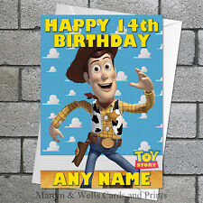 Toy Story birthday card: Sheriff Woody. 5x7 inches. Personalised, plus envelope.