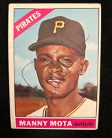 MANNY MOTA 1966 TOPPS AUTOGRAPHED SIGNED AUTO BASEBALL CARD 112 PIRATES