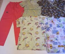 Lot of 5 Size S Small Rainbow Brite Pooh scrub tops & stretch pants j123