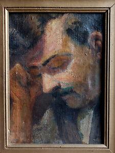 TABLEAU ancien 1912 signé Peinture huile toile HST Homme portrait dort visage