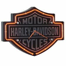 Harley-Davidson Etched Bar & Shield Shaped Neon Clock