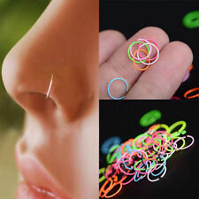 40Pcs Colorful Punk Surgical Steel Nose Open Hoop Lip Ring Body Piercing Studs