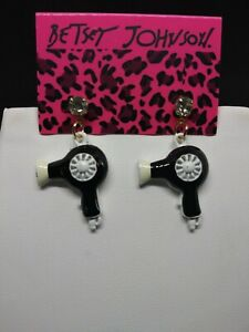 Betsey Johnson Rhinestone Enamel Black & White Hair Dryer Dangle Earrings