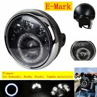 "E-Mark Motorcycle 7"" Round Headlight Hi/Lo Beam LED Vision Lamp For Harley Honda"